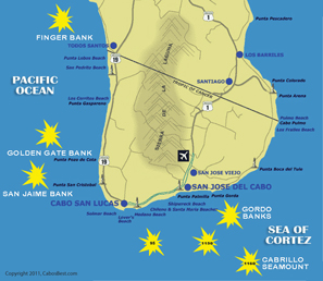 Fishing hot spots map for Los Cabos, Cabo San Lucas