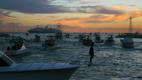 Charter fishing boats in Cabo San Lucas marina and bay